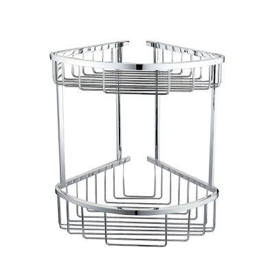 Corner Shower Caddy Double Shelf Basket Rack Chrome
