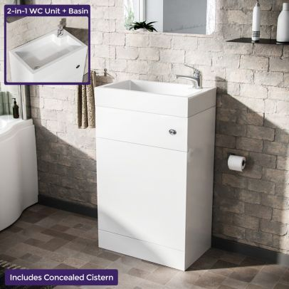 Bode 500mm Compact 2 in 1 WC Unit & Basin White