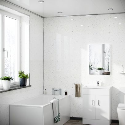 Quiltona Panel PVC White Galaxy Cladding Wall 1000mm X 2400mm X 10mm