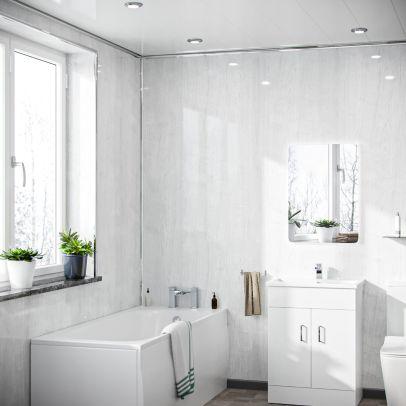 Pletona PVC Panel Ceiling White Wood Gloss Cladding 250mm X 2700mm X 5mm