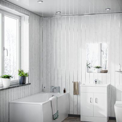 Seno PVC Panel White Wood Matt Silver 2700 x 200 x 6mm