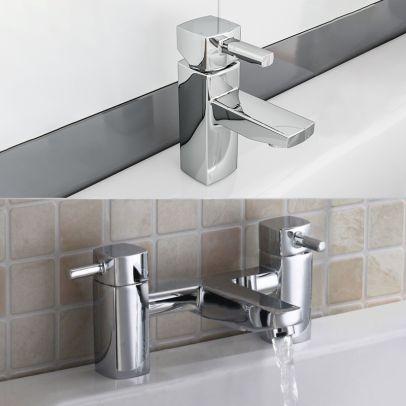 Boston Chrome Square Single Lever Basin Sink Mono Mixer &  Bath Filler Tap Set