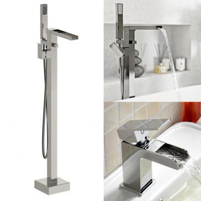 Ozone Freestanding Waterfall Bath Shower and Basin Mixer Tap