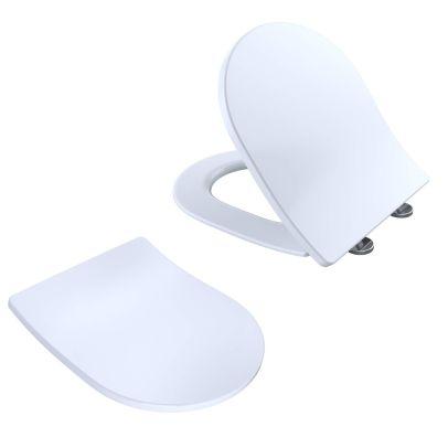 Modern D Shape Soft Close Toilet Seat White