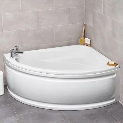 Kartell 1500 x 1040 mm White Offset Corner RH Bath